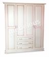 Шкаф четырехстворчатый со встроенным комодом (розовая патина)