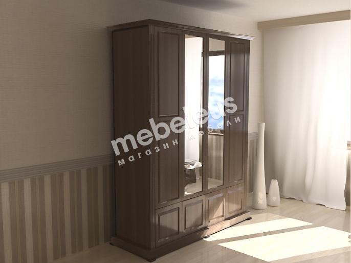 Шкаф четырехстворчатый с нижней антресолью с зеркалом
